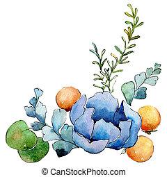 Blue flower. Isolated flower illustration element. Background illustration set. Watercolour drawing aquarelle bouquet.