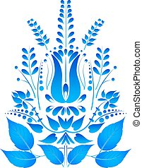 Blue flower isolated on a white background in Gzhel style. Vecto