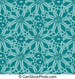 Blue flower lace seamless pattern.