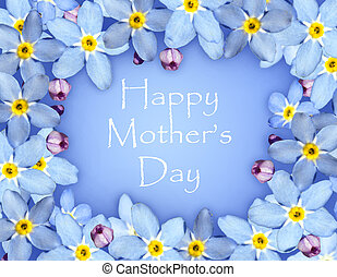 Mothers day card with blue flower frame