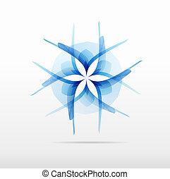 blue flower pixel squares  vector icon design logo