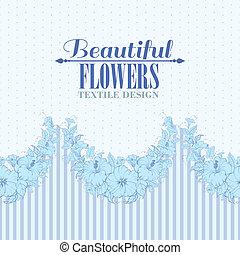 Blue flower seamless pattern. Vector illustration.
