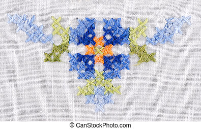 Blue flower tringle motiv embroider
