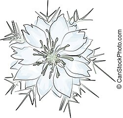 Blue flower, watercolor illustration isolated on white background. Vector