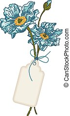 Blue flower with label tag