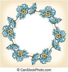 Blue flowers background circle frame