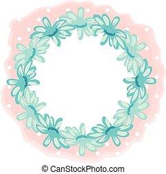 Blue flowers circle shape