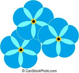 Blue flowers, illustration, vector on white background.
