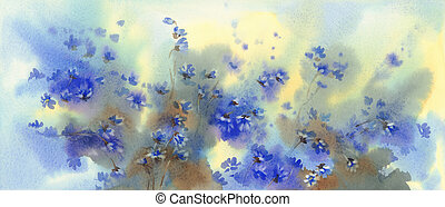 Blue flowers in the spring forest watercolor background.