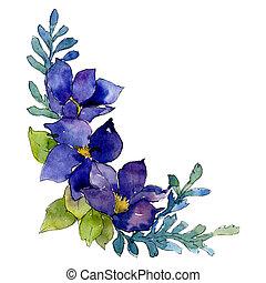 Blue flowers. Isolated flower illustration element. Background illustration set. Watercolour drawing aquarelle bouquet.