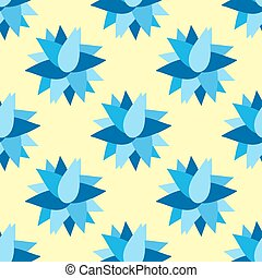 blue flowers on a yellow background seamless pattern vector illustration