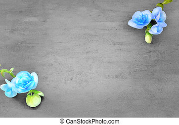 Blue flowers on grey background