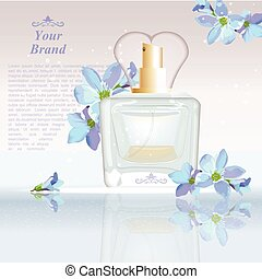 Blue flowers Perfume bottle Cosmetic ads template, droplet mock up isolated on dazzling background. Place for brand text. Glamorous fragrance sparkling effects. Vector illustration