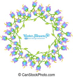 Blue flowers round frame isolated on white background