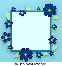 Blue flowers spring greeting card copy space 3D illustration