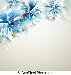 blue flowers - Tender background with blue abstract flowers...