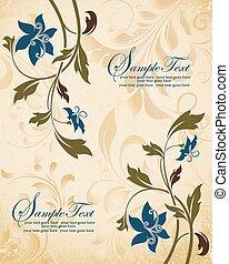 Blue flowers vintage wedding invitation card