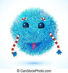 Blue fluffy funny monster