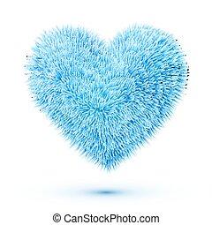 Blue fluffy vector heart
