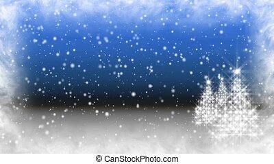 Blue Flurry Christmas Trees HD