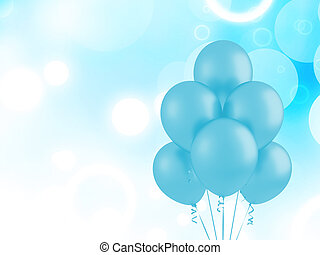 Blue flying balloons
