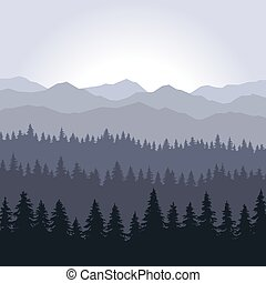 Blue Fog Coniferous Forest and Mountains Background. Vector...