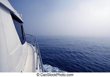 Blue fog sea in a foggy day low visibility