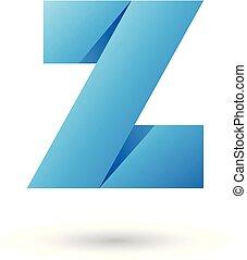 Blue Folded Paper Letter Z Vector Illustration