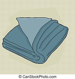 Blue Folded Towel - Single folded towel cartoon over green...