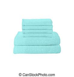 blue folded towels on white
