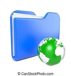 Blue Folder with Green Earth Globe.