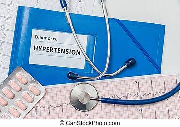 Blue Folder with Hypertension Diagnosis. Medical concept.