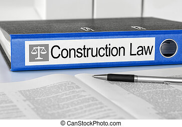Blue folder with the label Construction Law
