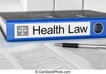 Blue folder with the label Health Law