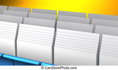 Folders And Documents - Blue Folders And Documents On Yellow...