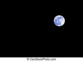 blue fool moon on the dark sky
