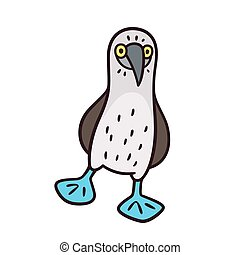 Blue-footed booby, funny cartoon bird drawing. Isolated...