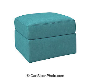 blue footstool isolated on white