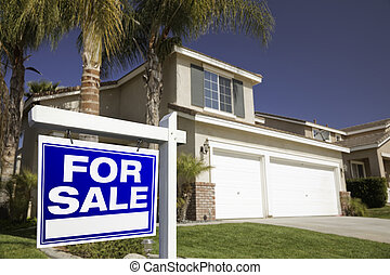 Blue For Sale Real Estate Sign and House