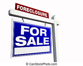Blue Foreclosure Real Estate Sign on White.