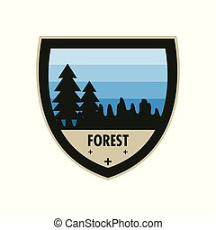 Blue Forest Adventure Shield Badge Design