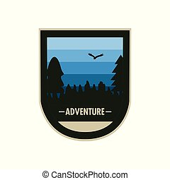 Blue Forest Concave Shield Adventure Badge Design
