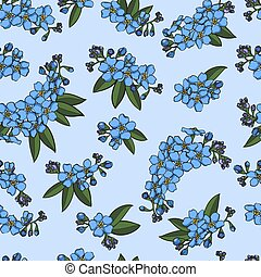 Blue forget-me-not seamless pattern