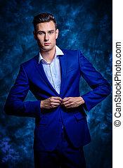 blue formal suit