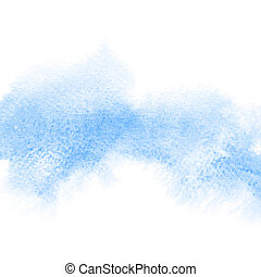 Blue formless watercolor stain - abstract background