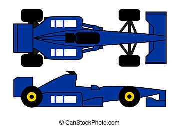 Blue formula car
