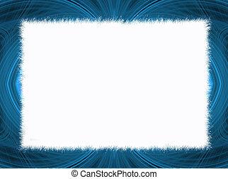 Blue Fractal Border Copy Space - Blue fringe fractal border...
