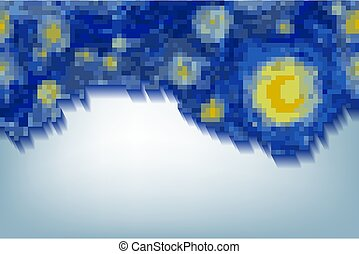 blue frame background in digital art with copy space for text, pixel art frame, starry night sky with glowing yellow moon and with blank central space in Van Gogh impressionist painting style, vector