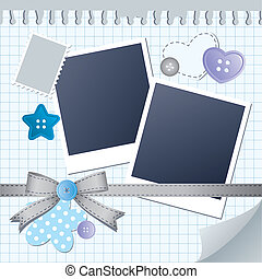 blue frame for photos with scrapbook elements