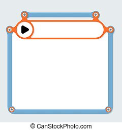 blue frame for text with screws and frame for headline